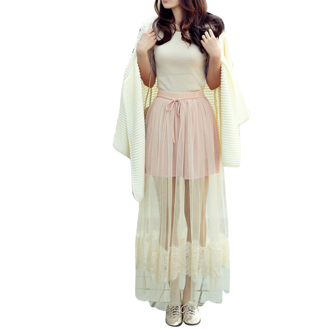 Women Drawstring Elastic Waist Lace Detail Mesh Skirt Pink Beige XS