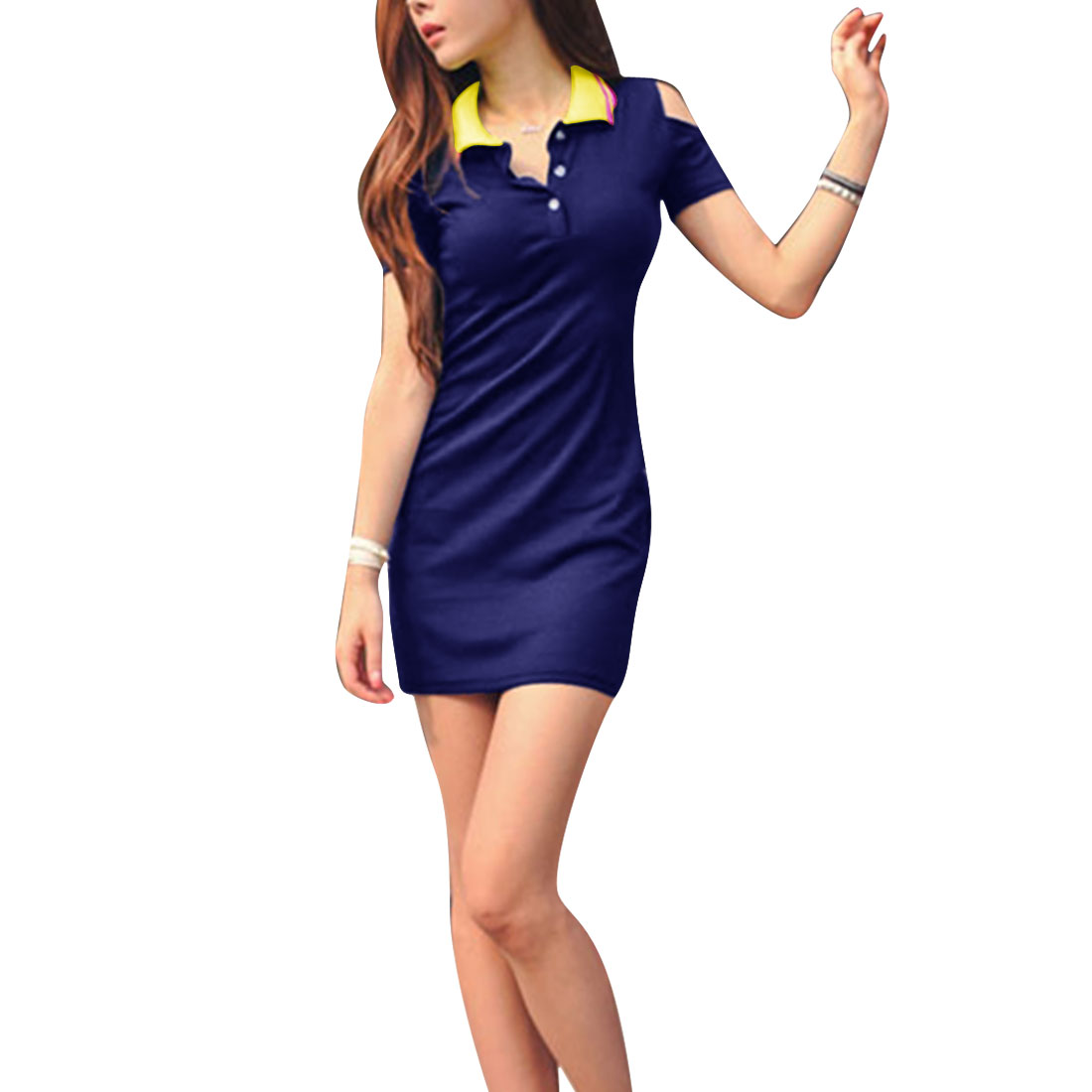 Women Convertible Collar Pullover Mini Dress Navy Blue XS
