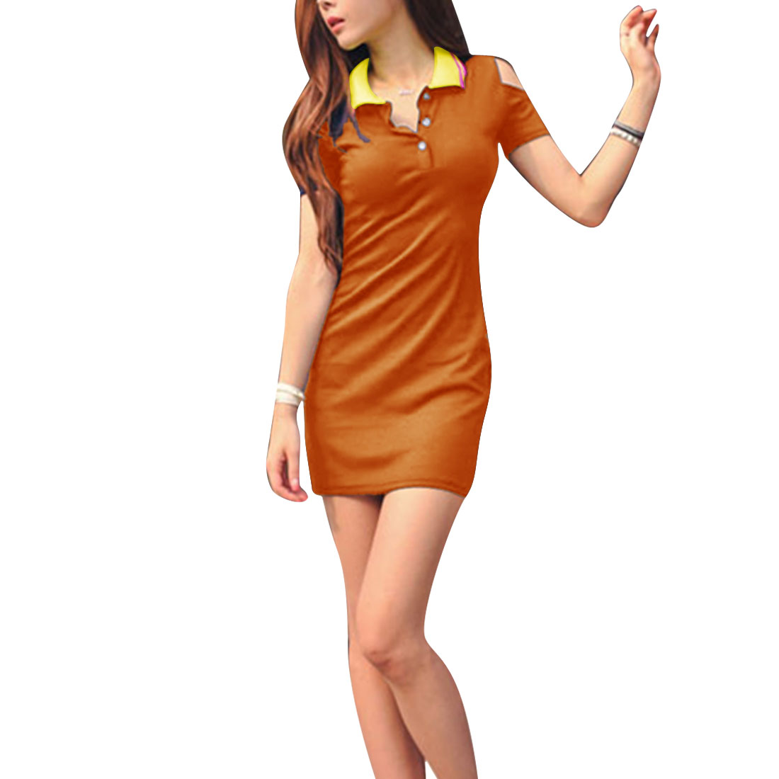 Women Convertible Collar Short Sleeve Cut Out Dress Orange XS