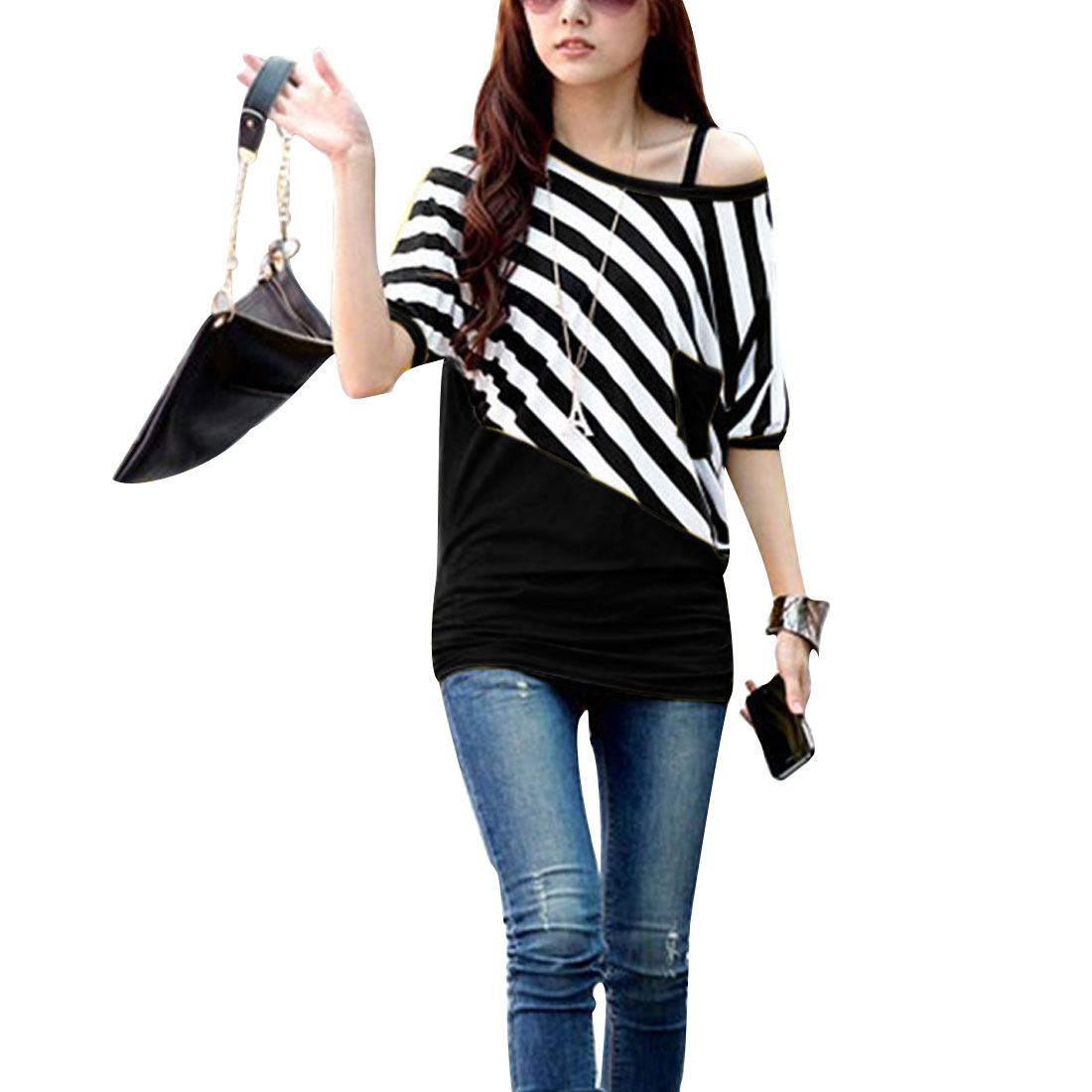 Black L Color Block Pullover Casual Stripes Pattern Style Women Top Shirt