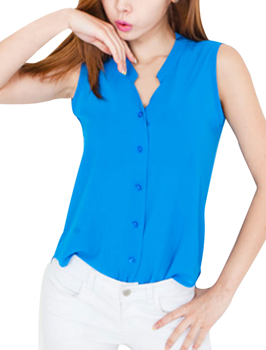 Women Stand Collar Sleeveless Semi Sheer Top Shirt Turquoise S