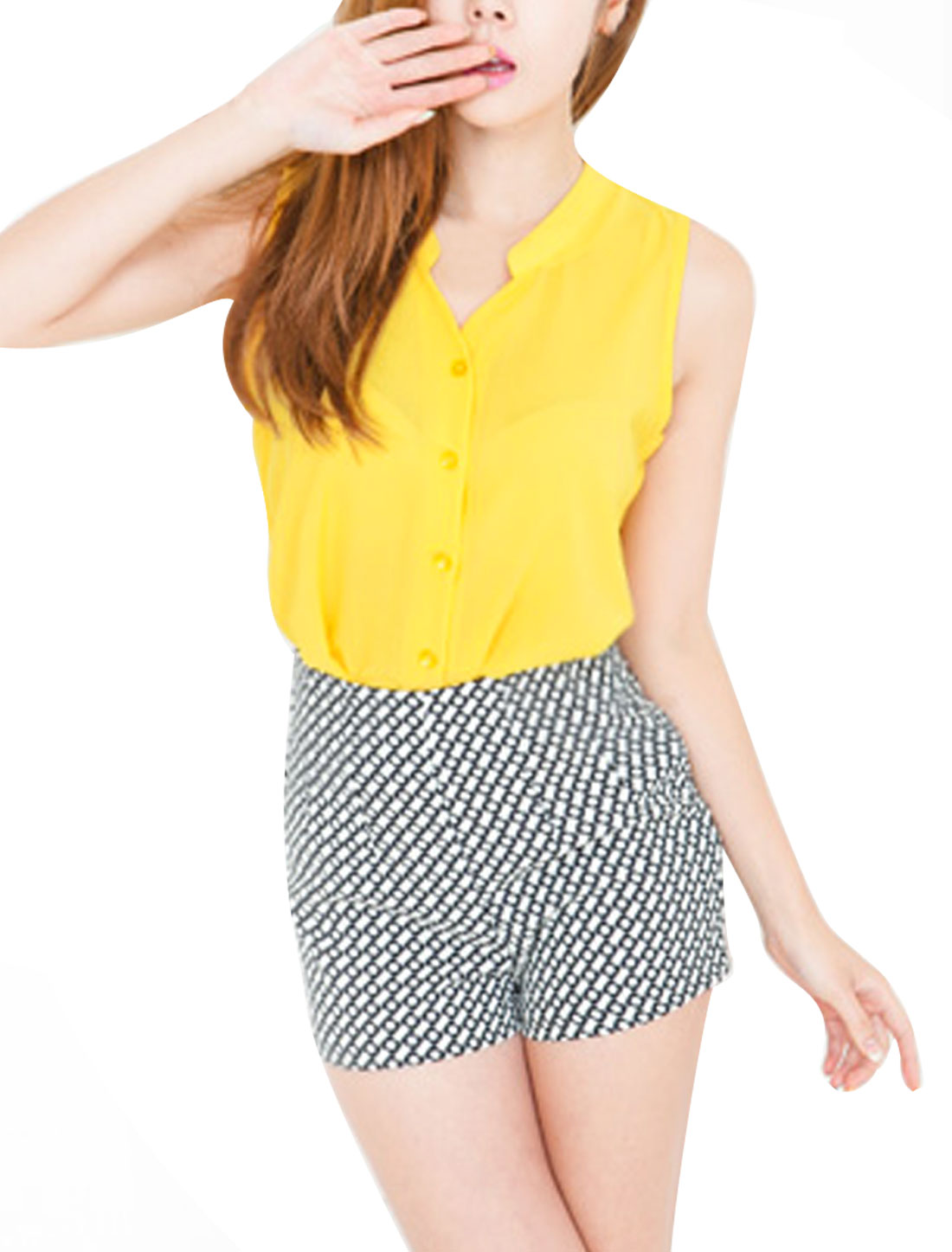 Women Stand Collar Single Breasted Summer Top Shirt Yellow S