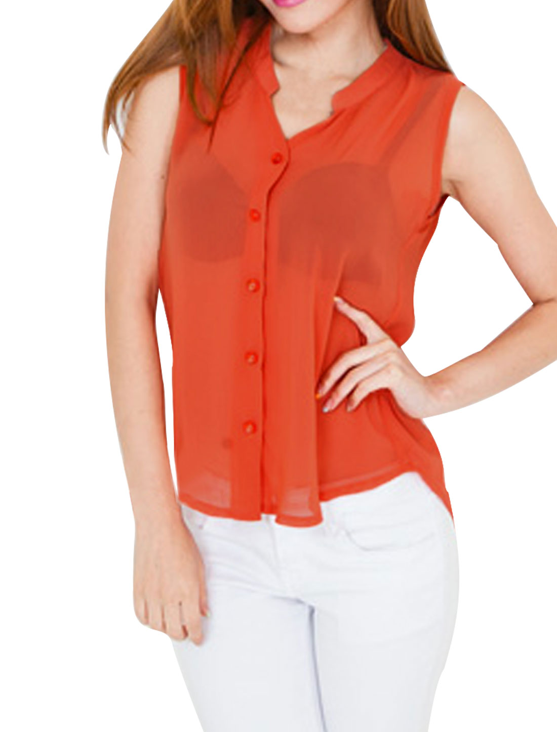 Women Stand Collar Button Closure NEWS Top Shirt Orange S