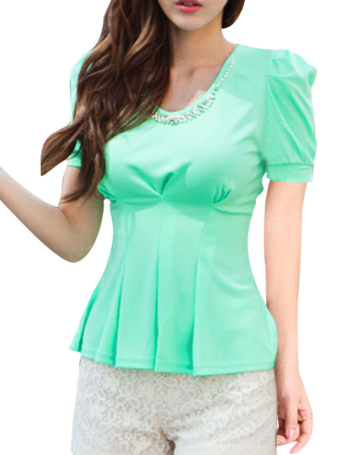 Women's Stretchy Round Neck Pearl Decor Short Puff Sleeve Tunic Shirt Green XS