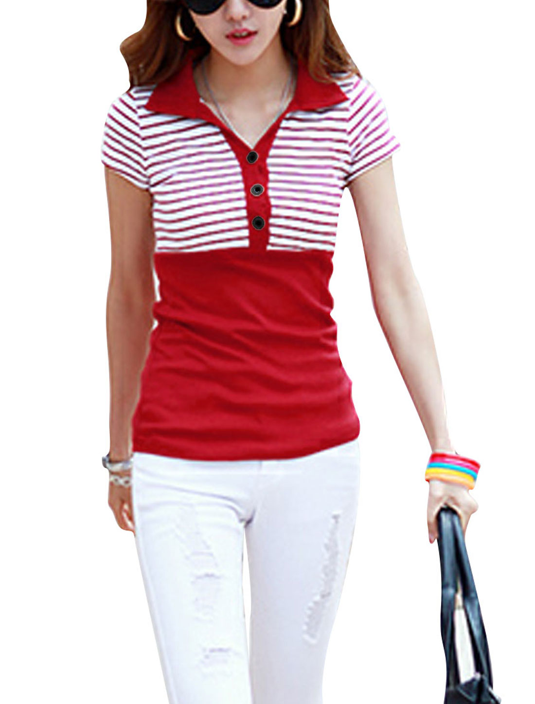 Women Short Sleeve Stripes Ribbing Top Shirt Red White XS
