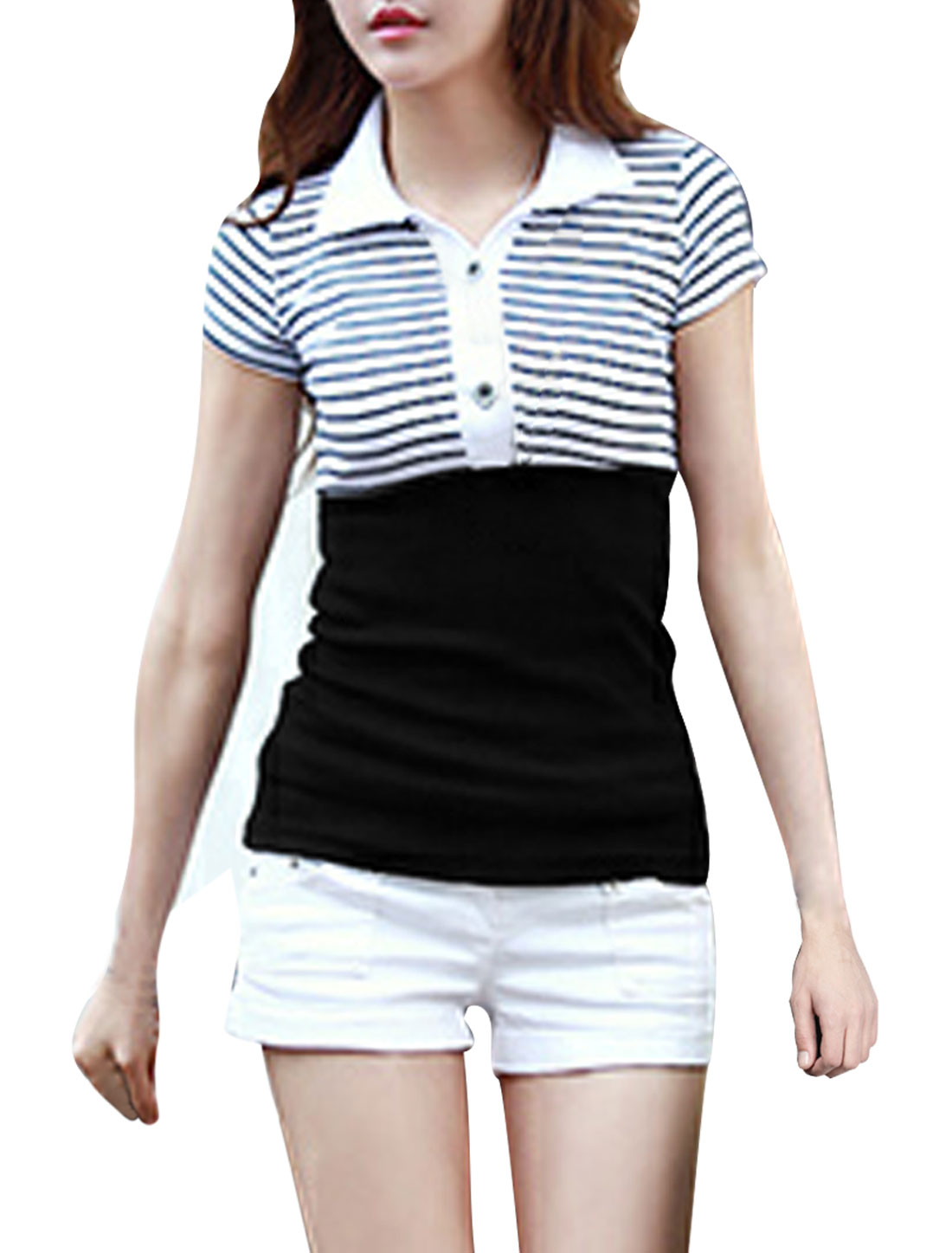 Women Convertible Collar Soft Stretchy Top Shirt Black White XS