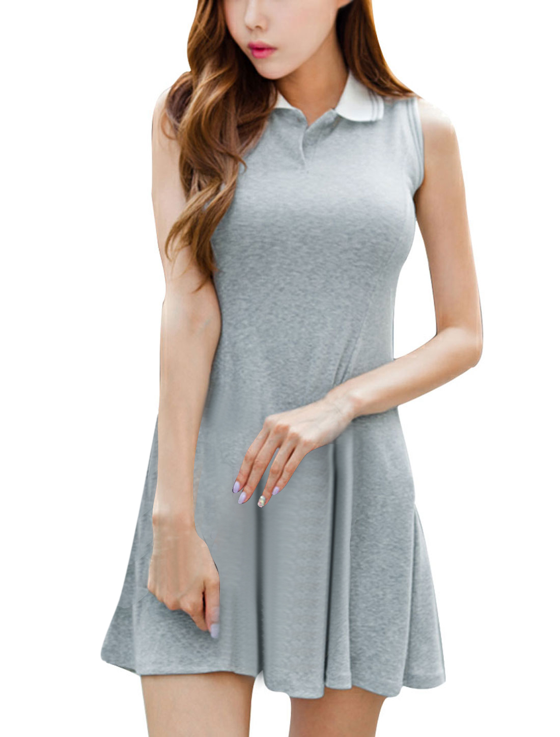 Women Convertible Collar Pullover Ribbing Dress Light Gray XS