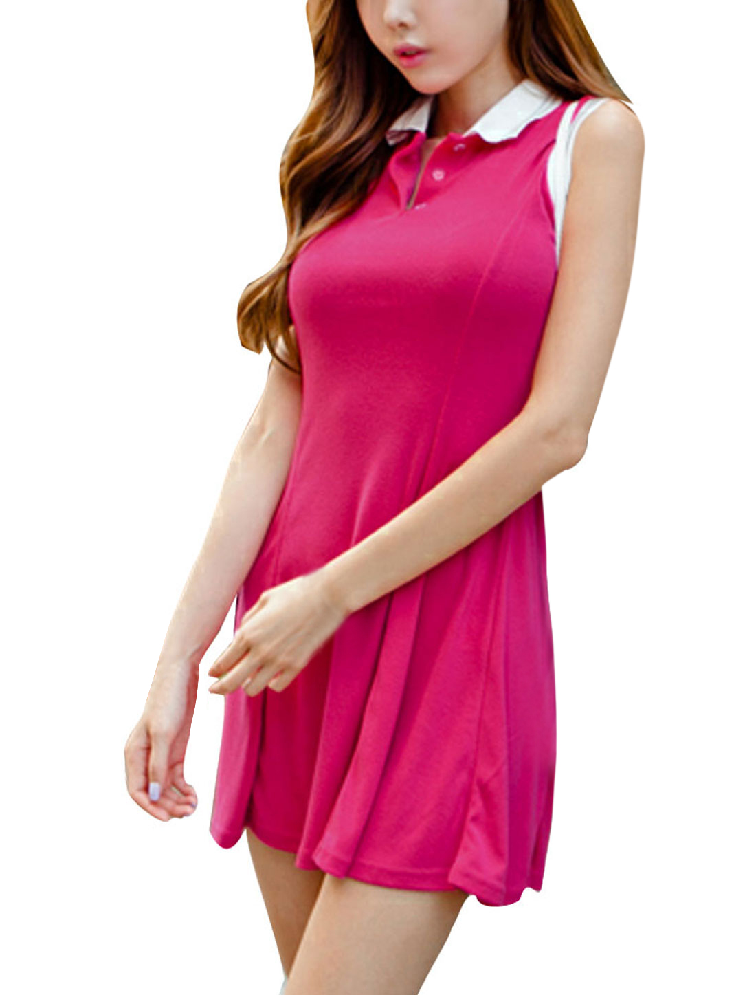 Women Convertible Collar Sleeveless A Line Dress Fuchsia XS