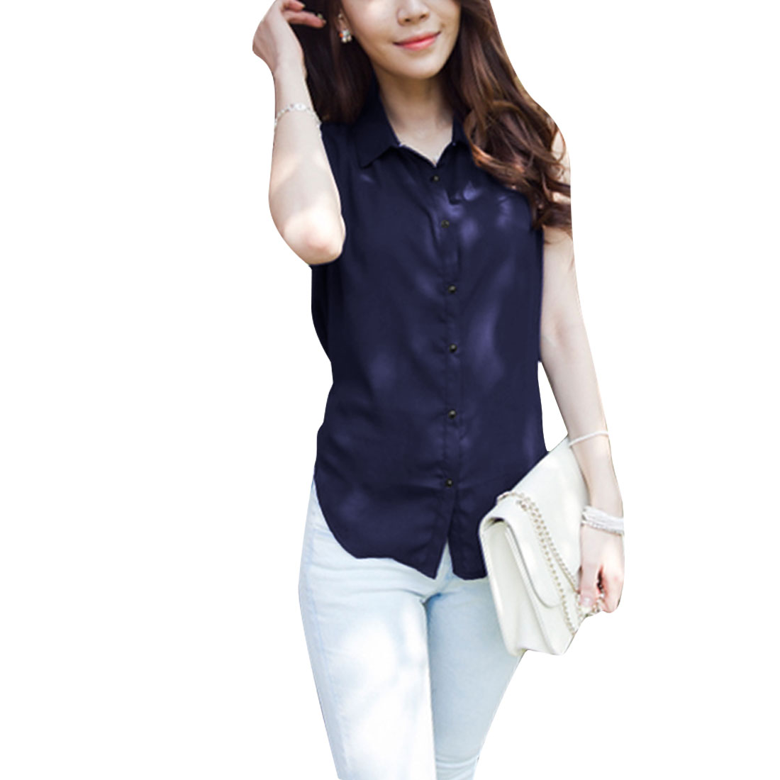 Women Point Collar Sleeveless Strap Back Shirt Navy Blue S