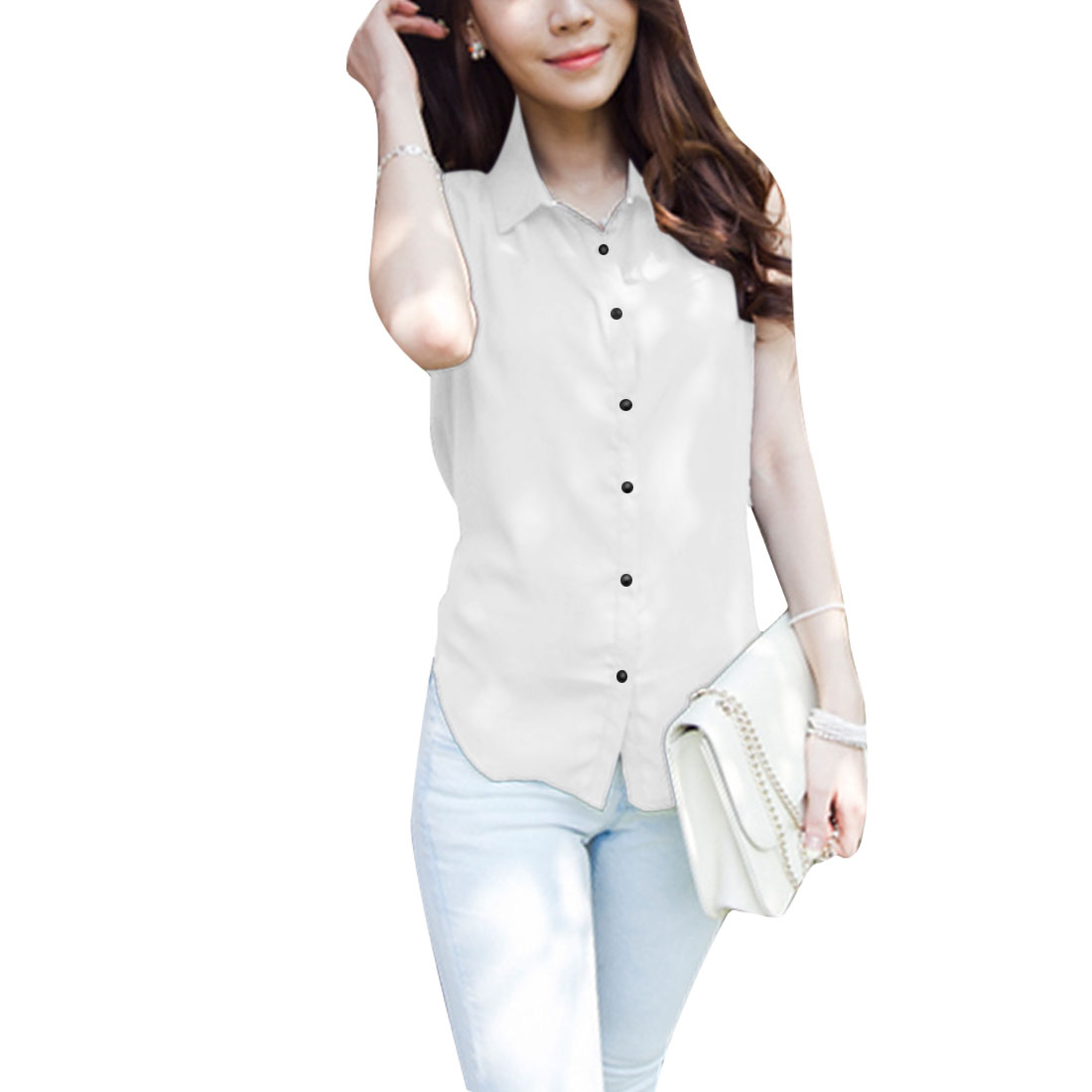 Women Button Closure Sleeveless Semi Sheer Shirt White S