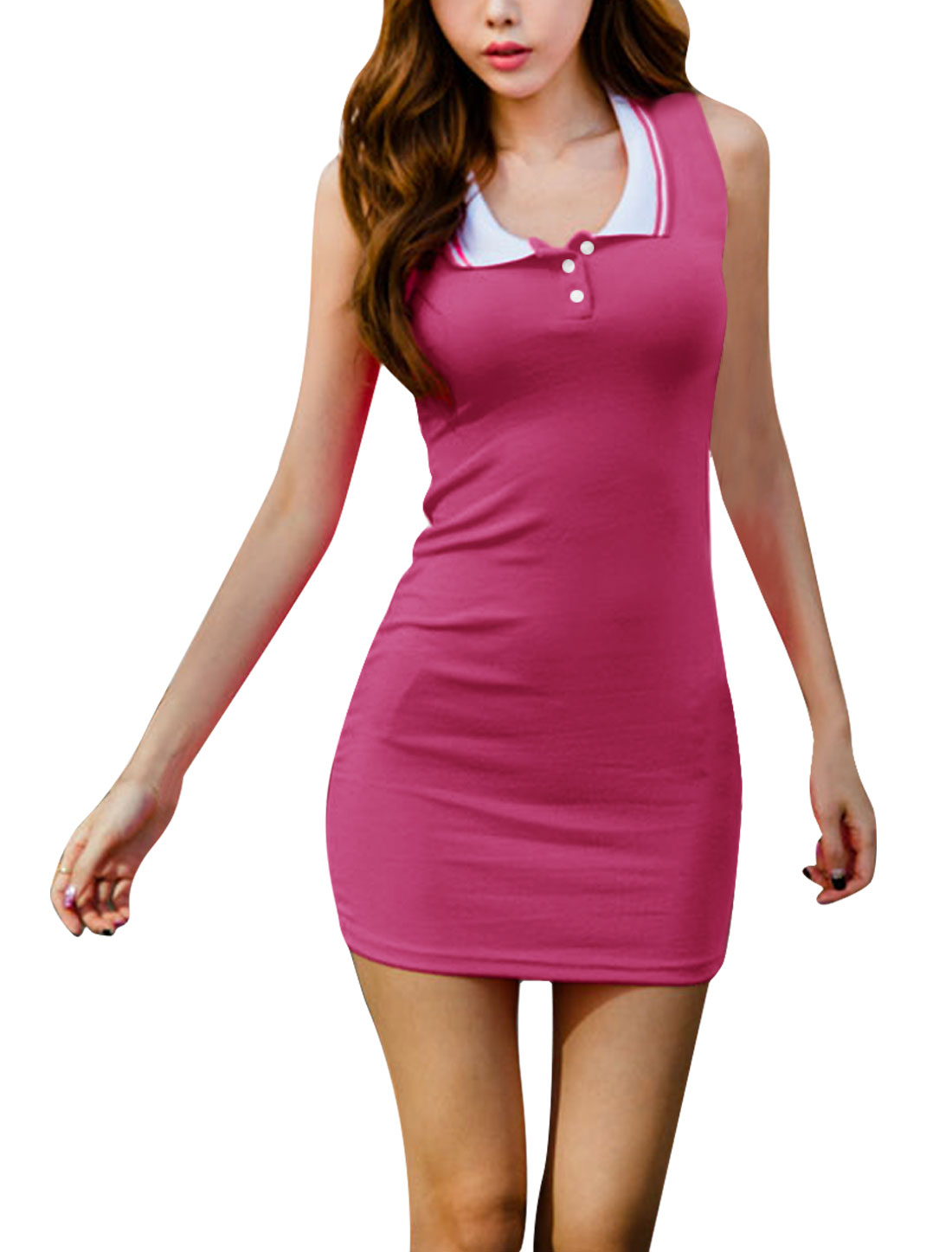 Women Pullover Sleeveless Ribbing Mini Dress Fuchsia XS