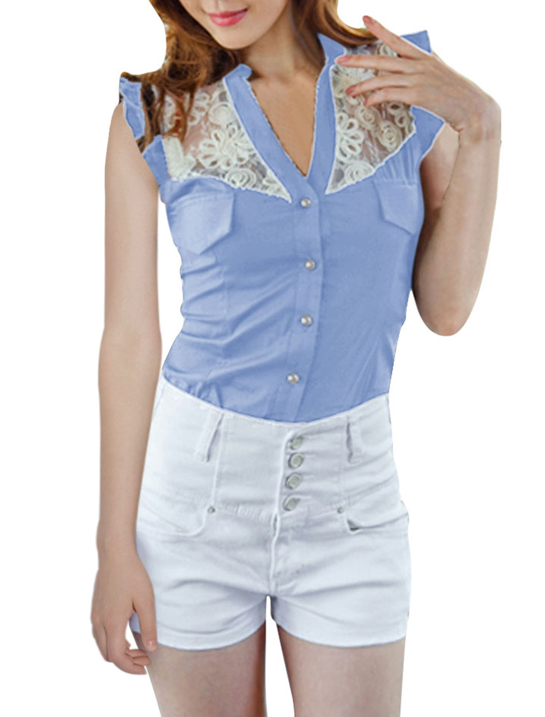Women Stand Collar Sleeveless Lace Splice Top Shirt Light Blue XS