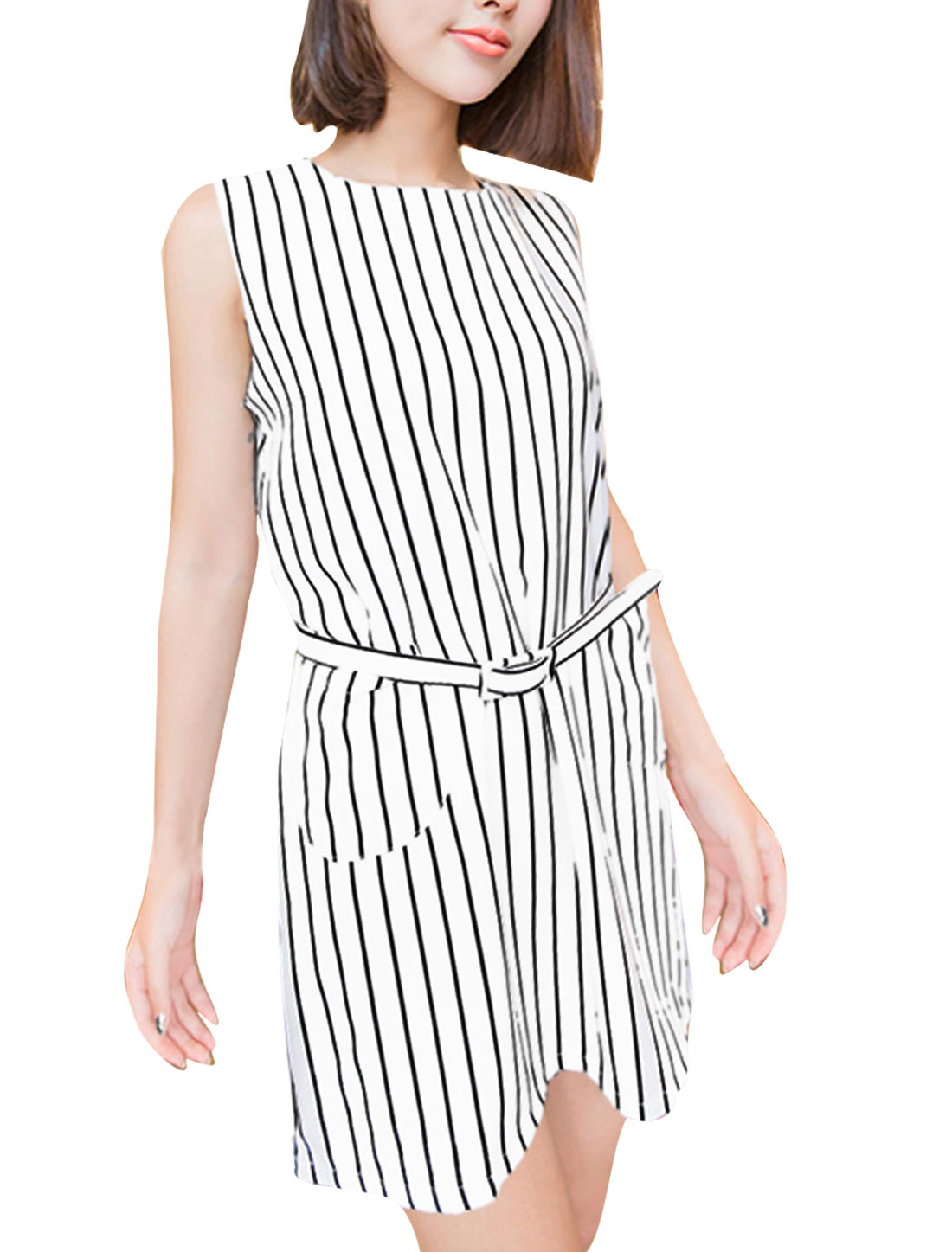 White S Two Tone Zipper Fly Color Block Stylish Women Dress