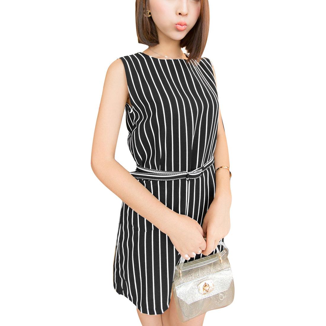 Women Black S Sleeveless Design Round Neck Stripes Pattern Dress