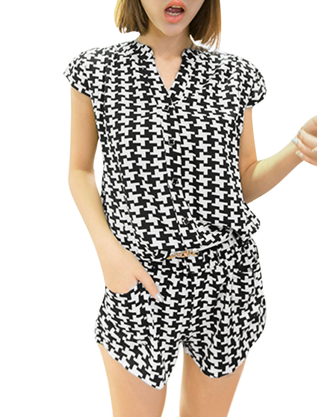 Women S White Black Split Neck Cap Sleeve Design Houndstooth Pattern Romper