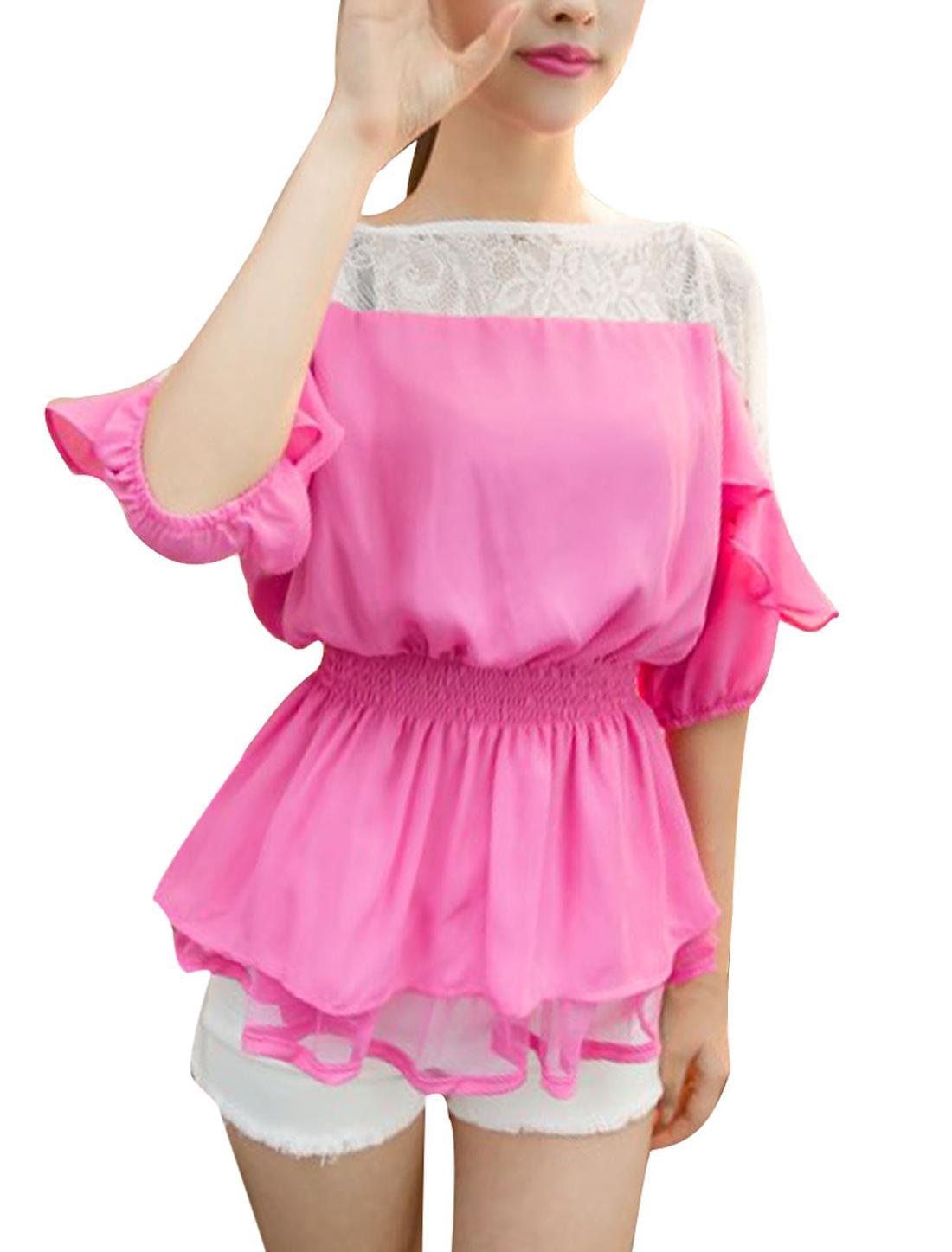 Women S Fuchsia Raglan Sleeve Style Round Neck Elastic Waist Blouse