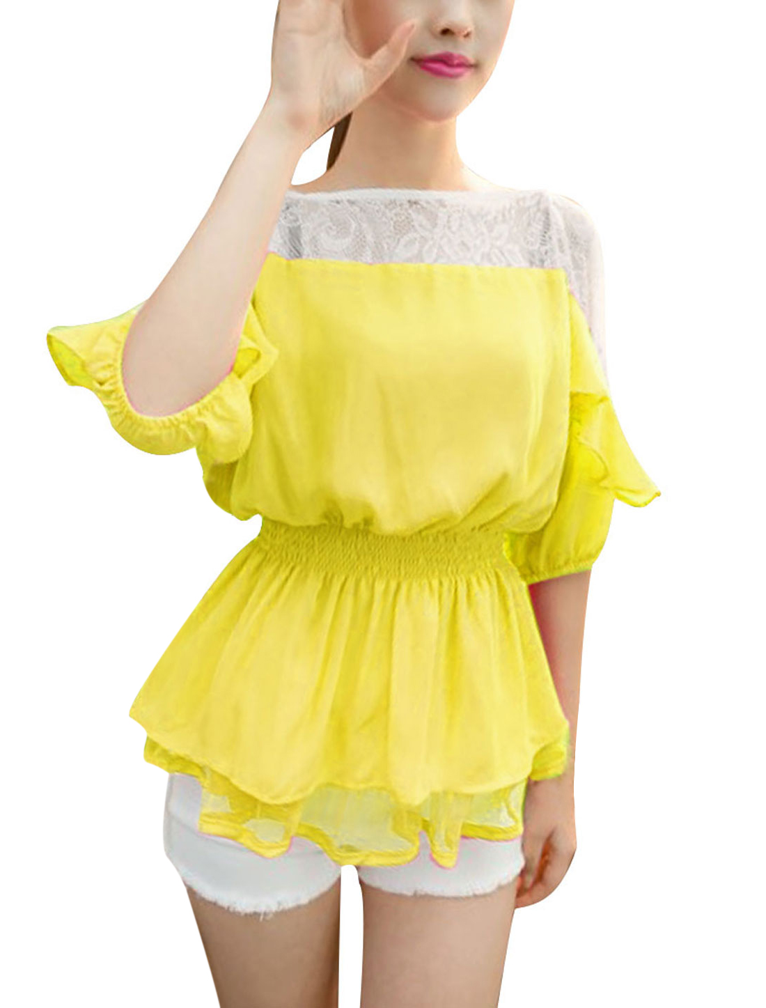 Ladies Yellow S Round Neck Semi Sheer Elastic Waist Design Casual Blouse