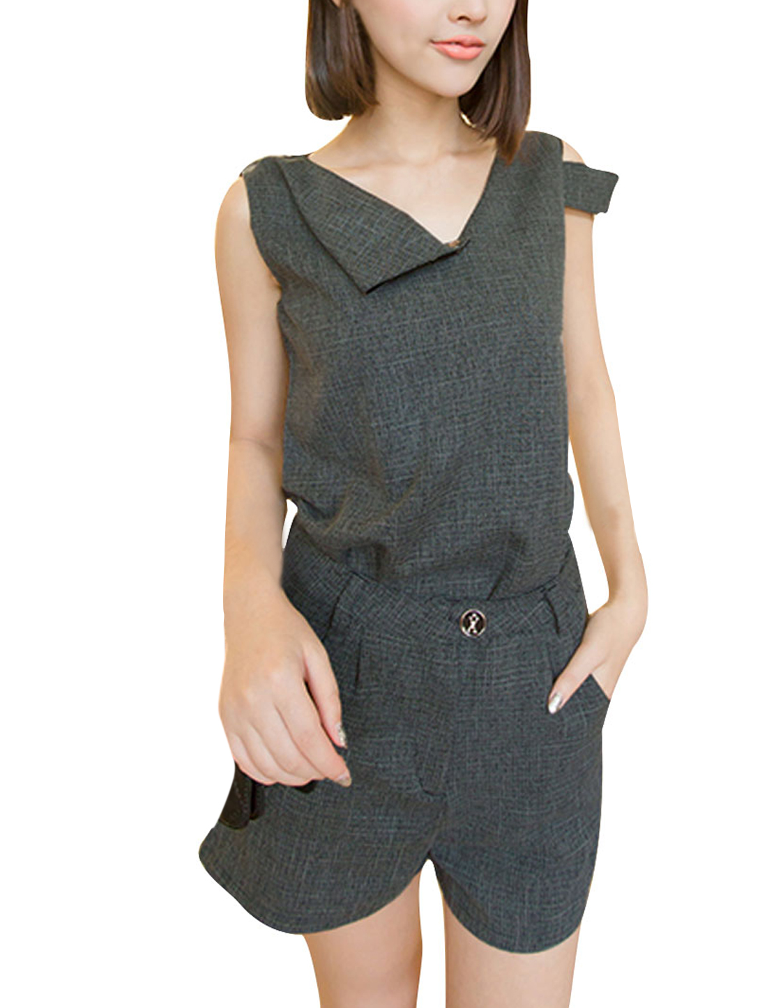 Ladies XS Dark Grey Stylish Sleeveless Top w Button Closure Zip Fly Shorts