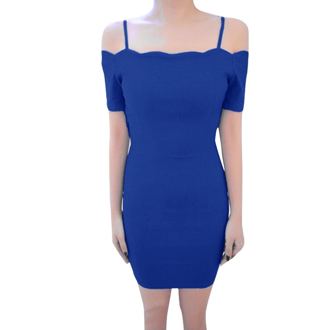 Women Off Shoulder Spaghetti Straps Sheath Dress Blue XS