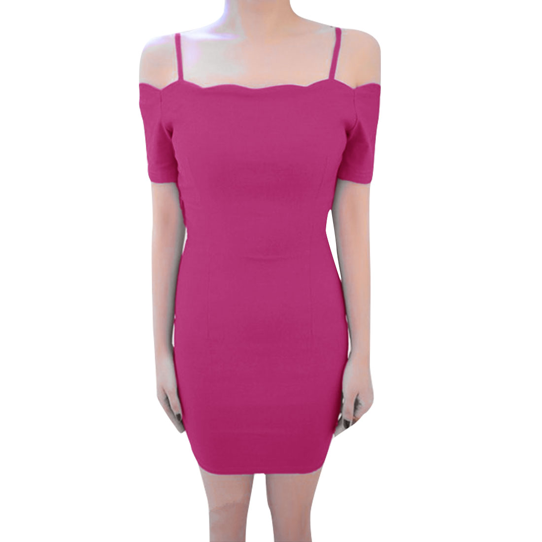 Women Off Shoulder Spaghetti Straps Sheath Dress Pink XS