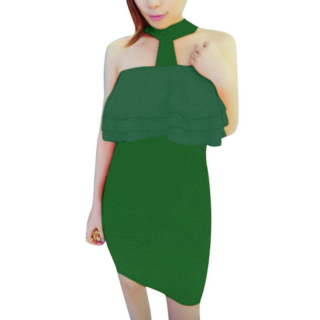 Women Halter Neck Zip Closure Back Sheath Dress Green XS