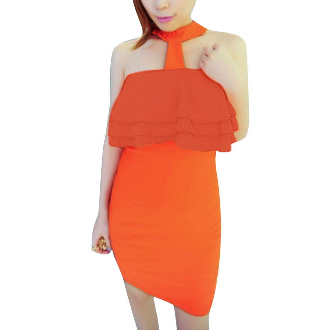 Women Zip Up Back Sleeveless Flouncing Detail Dress Orange XS