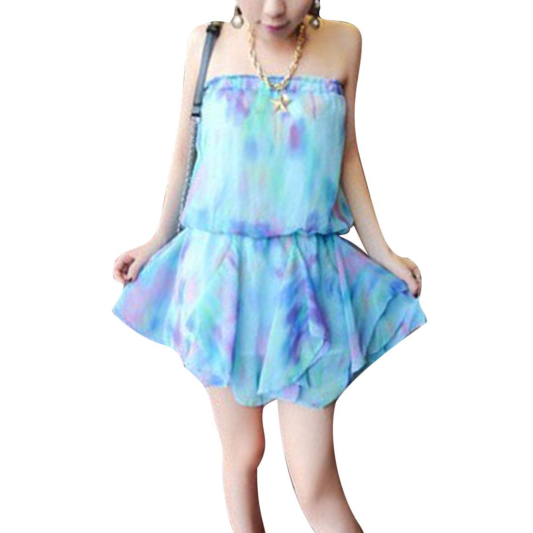 Women XS Light Blue Strapless Color Block Off Shoulder Tube Dress