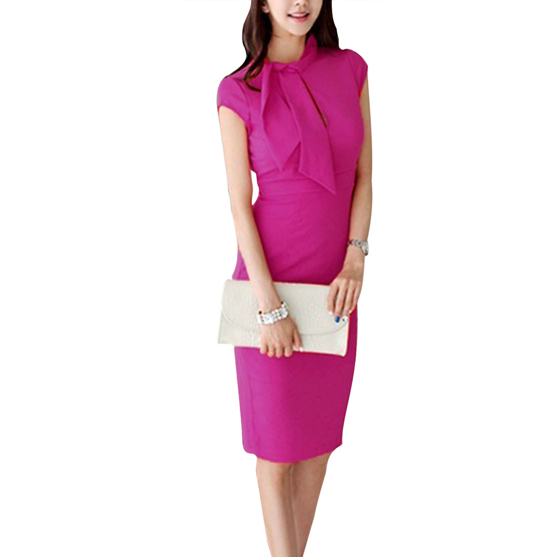 Ladies Fuchsia XS Solid Color Pullover Mock Neck Style Slim Fit Sexy Dress