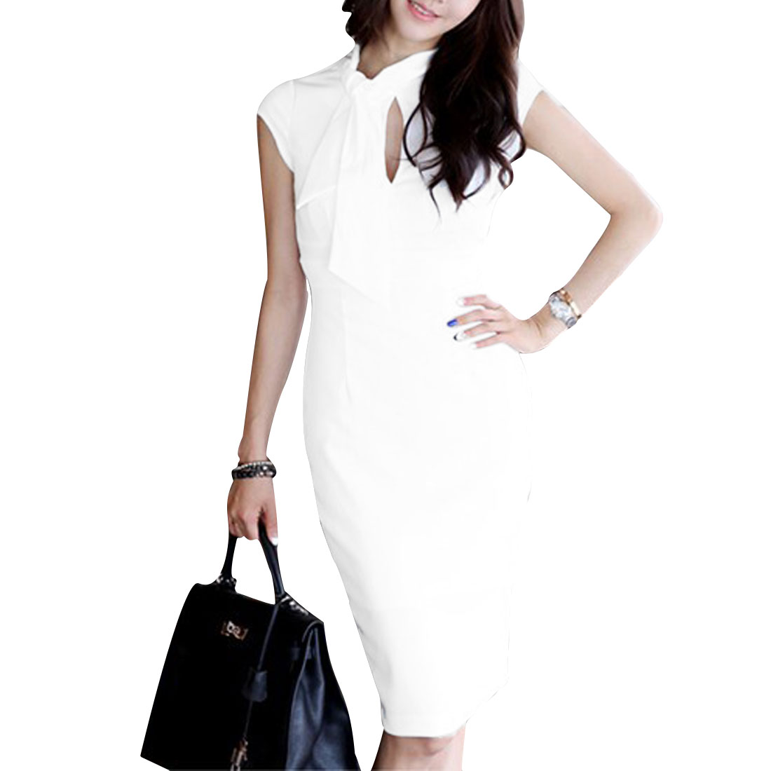 Women White XS Mock Neck Solid Color Cap Sleeve Design Pullover Casual Dress