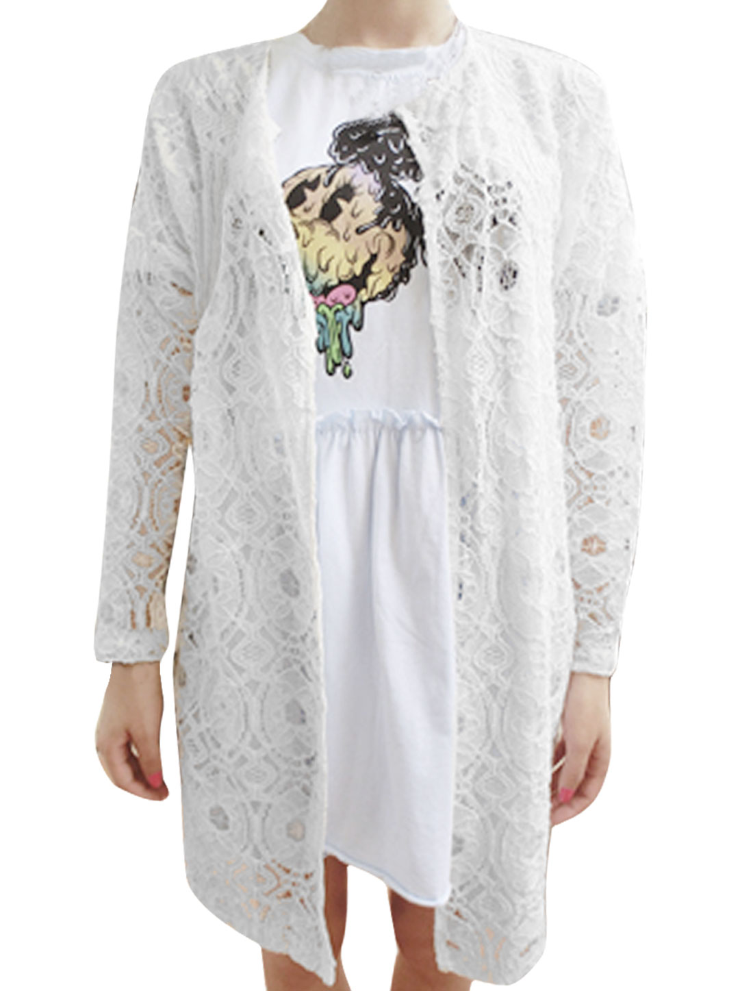 Women Round Neck Open Front Long Sleeve Lace Coat White XS