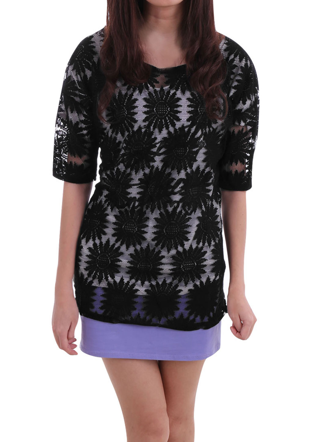 Woman Cover Up Crochet Flower Semi Sheer Dolman Tunic Top Black S