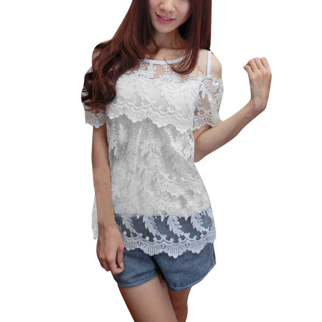 Women Round Neck Pullover Short Sleeve Tiered Lace Blouse White XS