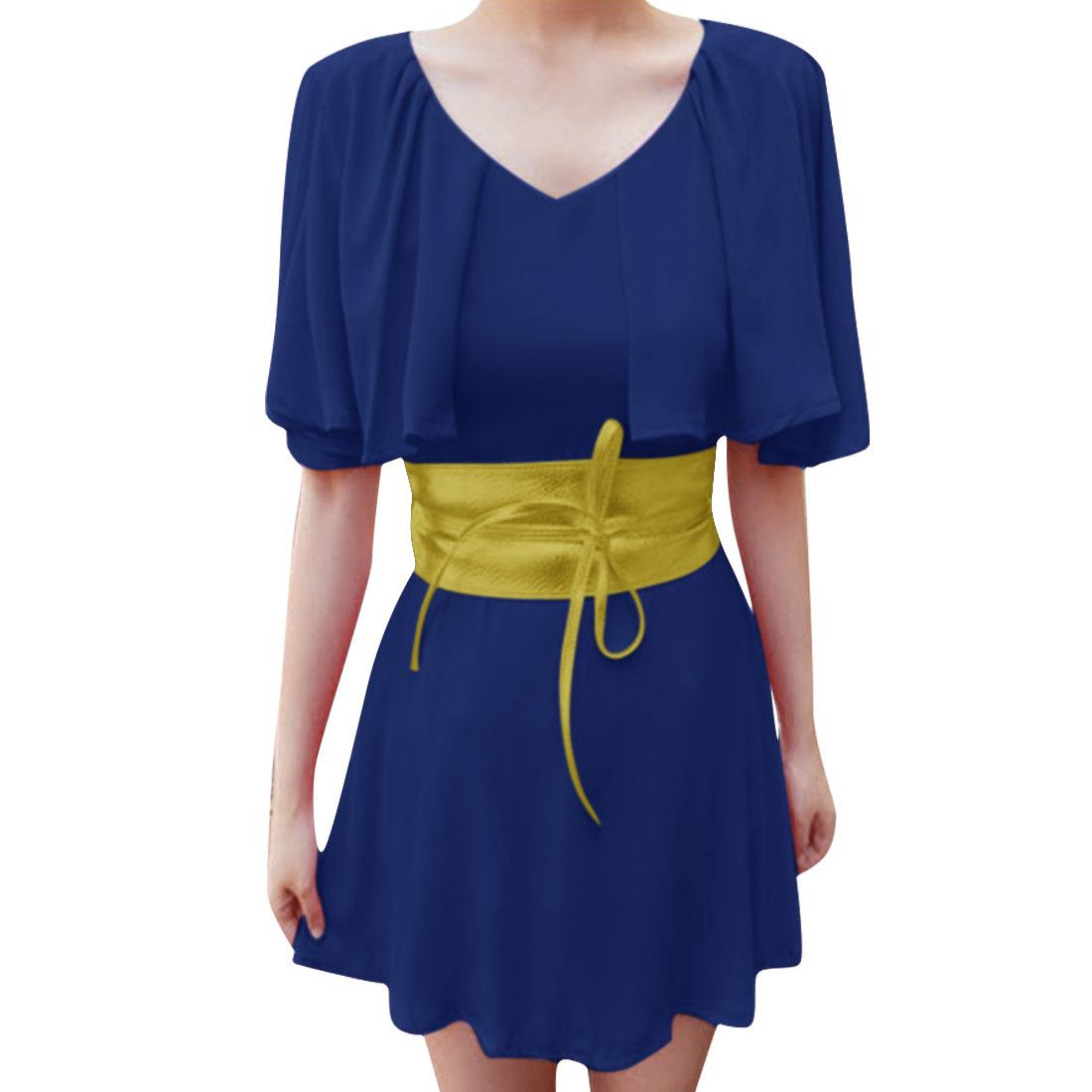 Women V Neck Split Sleeve Stylish Dress Royal Blue XS