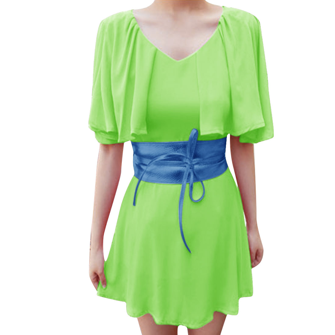 Women Split Butterfly Sleeve NEWS Dress Light Green XS