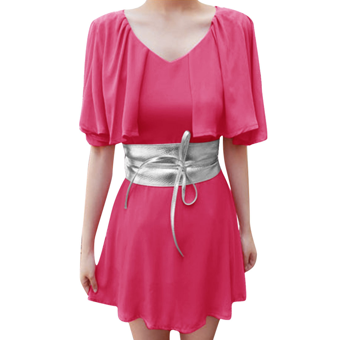 Women High Rise Butterfly Sleeve Leisure Dress Fuchsia XS