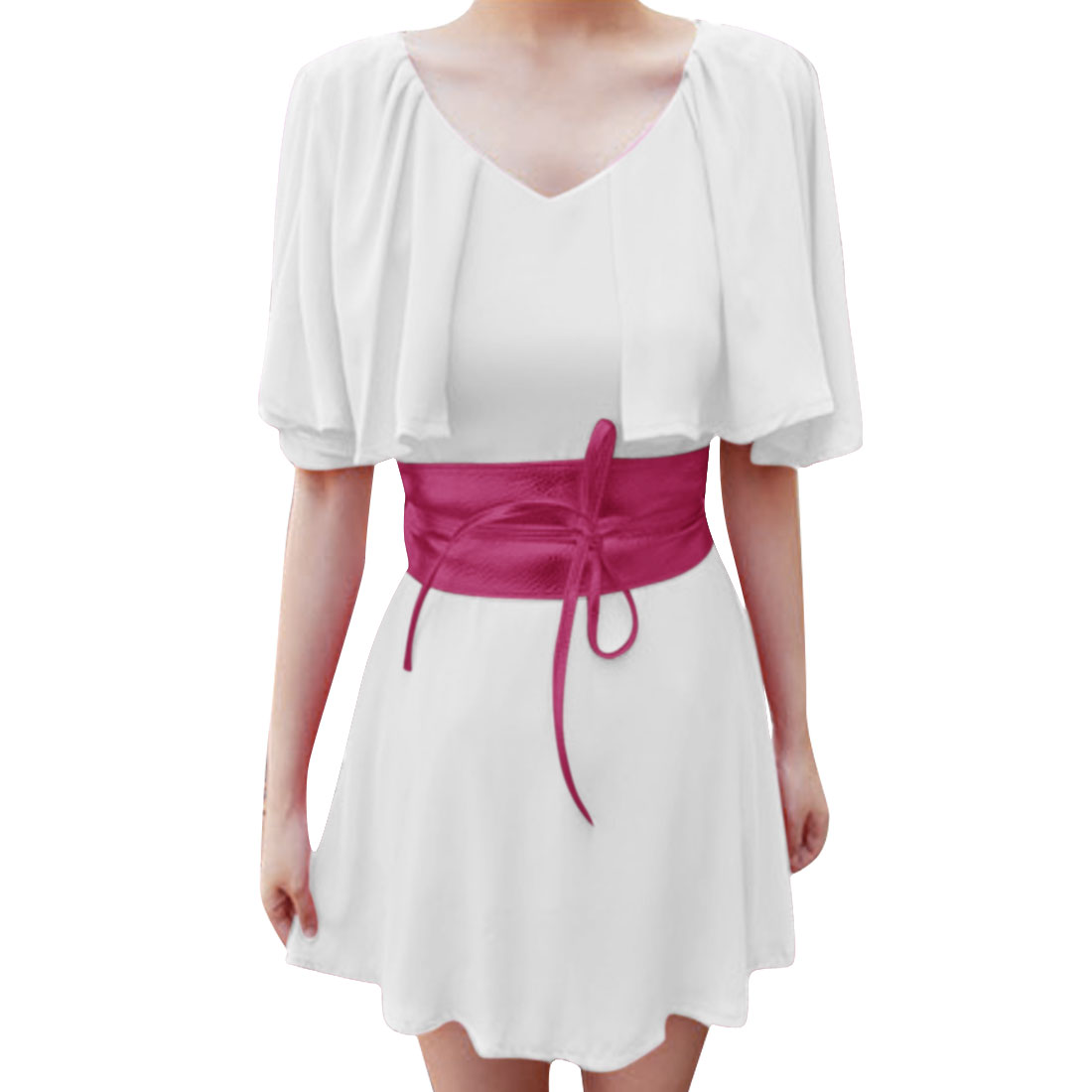 Women V Neck Belt Casual Dress White XS