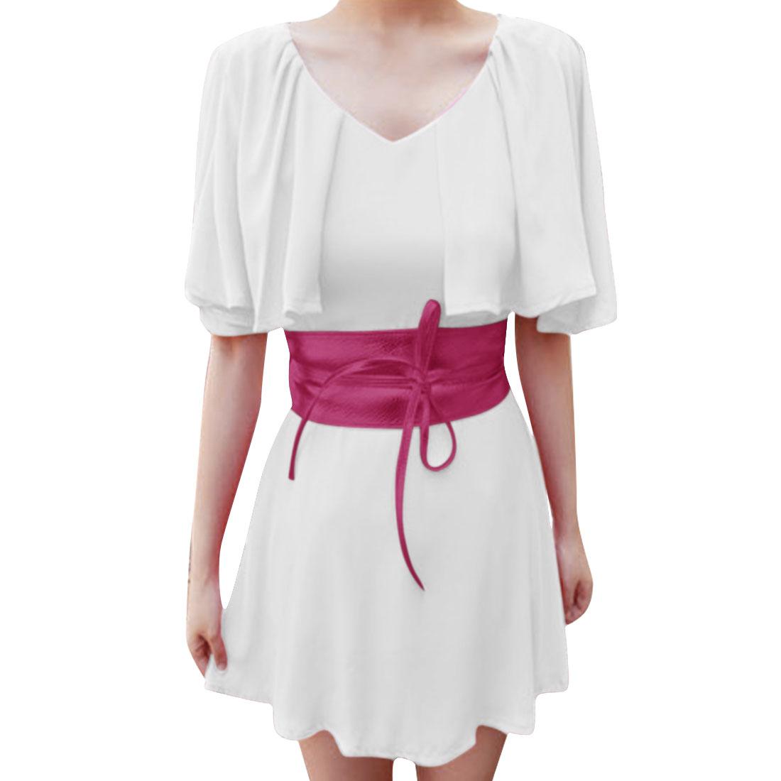 Women V Neck Belt Casual Dress White XS