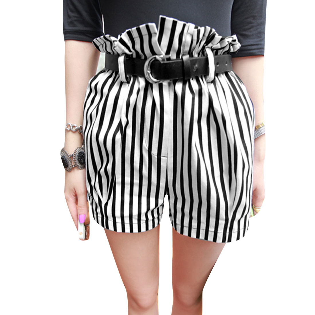 Women Waistband Loop Zip Up Pockets Stripes Shorts Black White XS