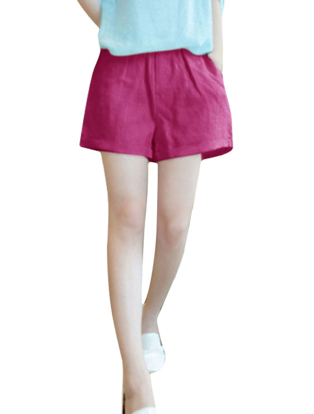 XS Fuchsia Slim Fit Style Elastic Waist Solid Color Summer Shorts for Ladies