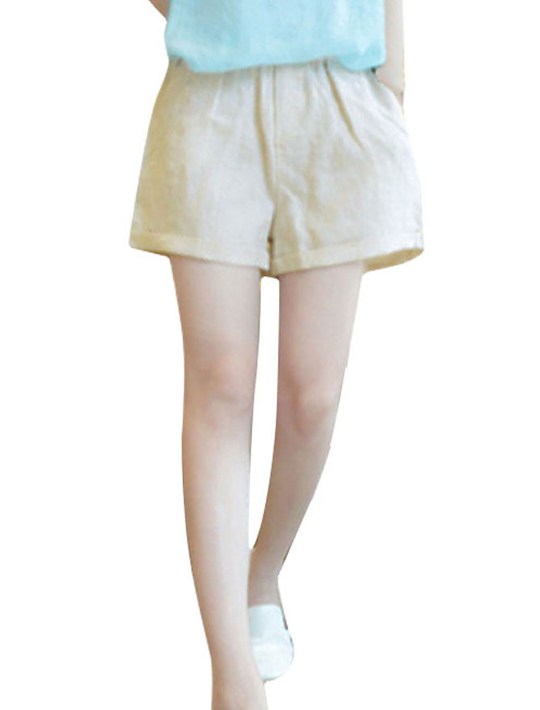 Women XS Beige Elastic Waist Slant Pockets Slim Fit Summer Casual Shorts