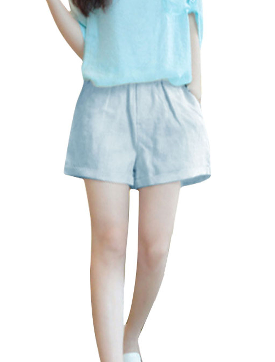Ladies Light Blue XS Elastic Waist Front Pockets Slim Fit Casual Shorts