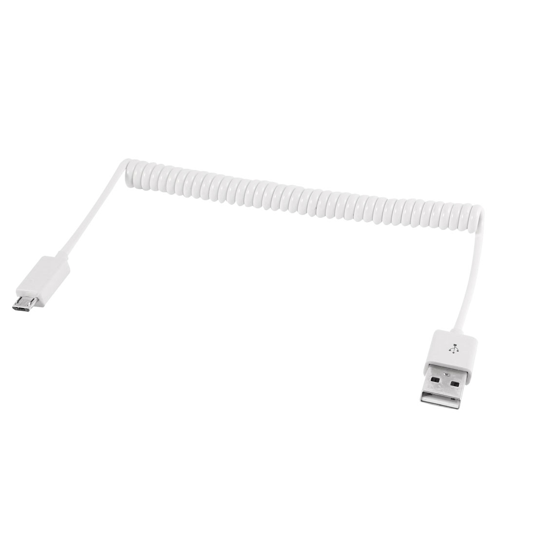 White Coil Cord USB 2.0 Male to Micro B 5 Pin Male Data Sync Charger Cable