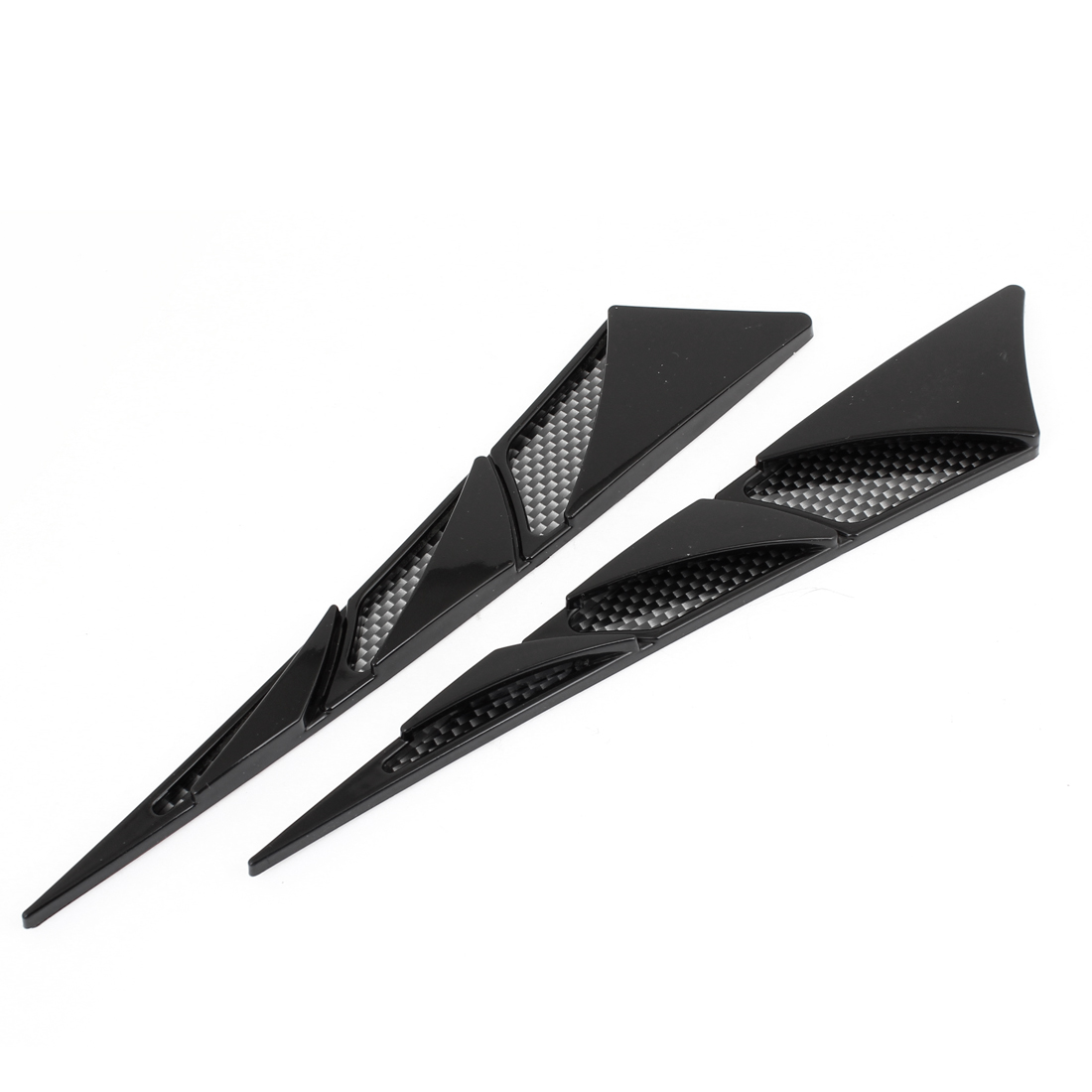 "2 Pcs 9.3"" Carbon Fiber Pattern Air Flow Fender Sticker Black for Car"
