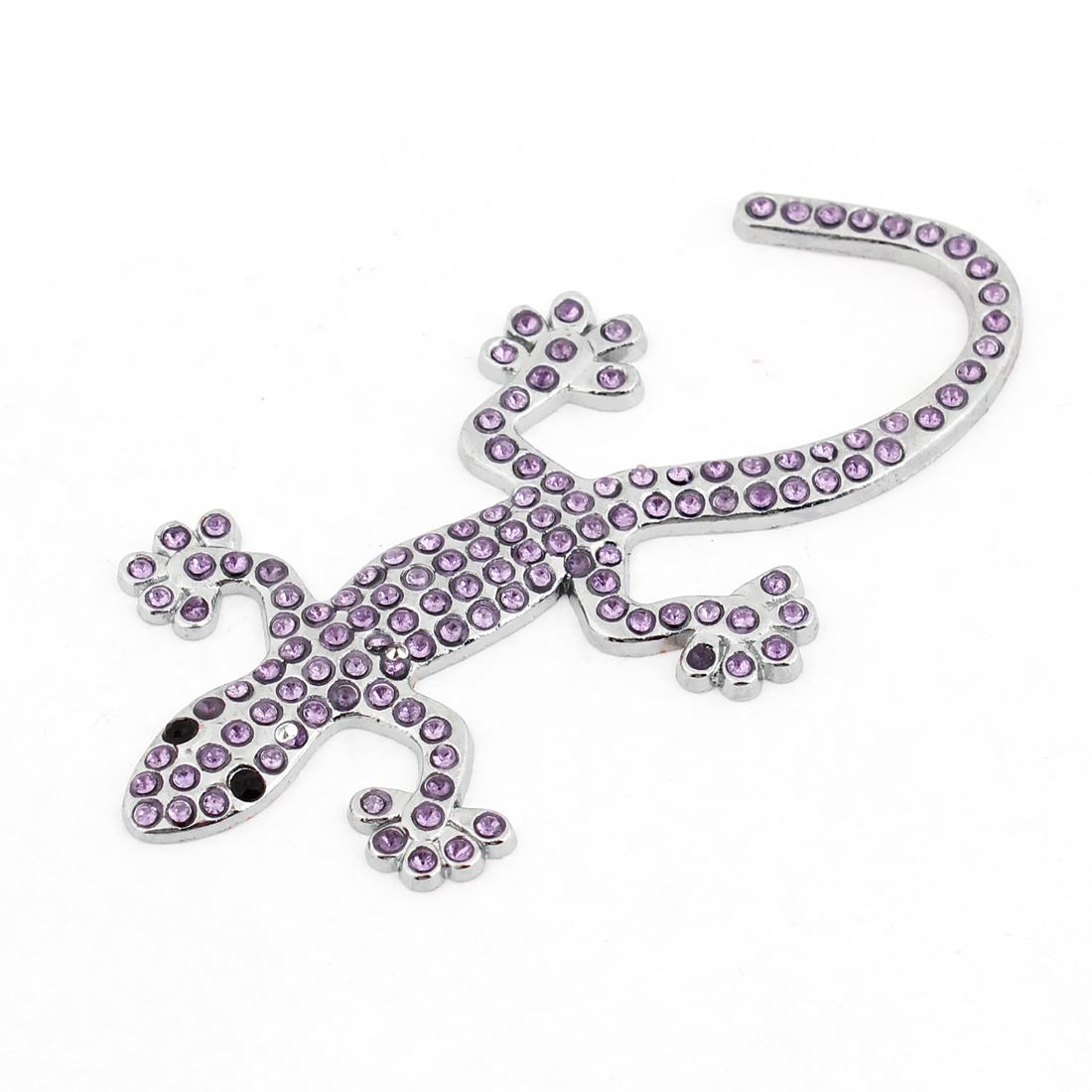 Purple Faux Rhinestone Decor 3D Gecko Design Sticker Silver Tone for Car