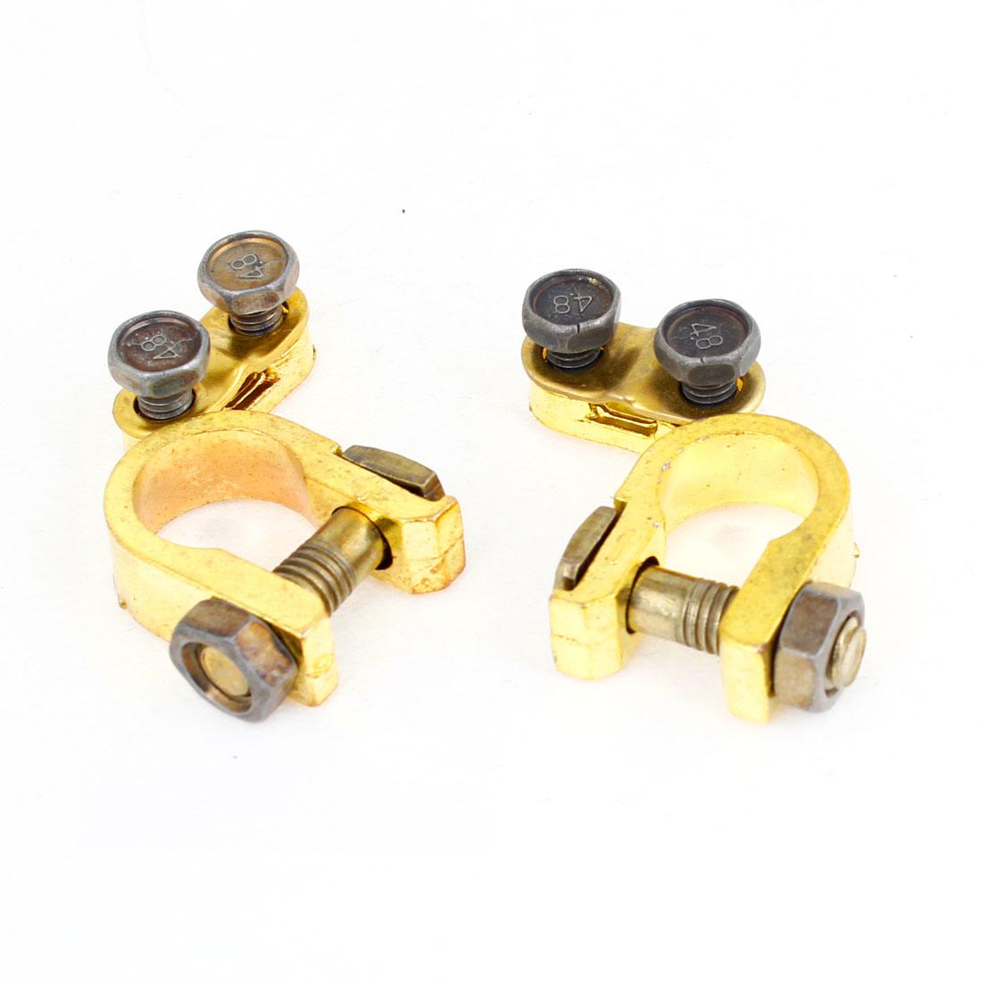 2pcs Gold Tone Adjustable Battery Terminals Clip for Car