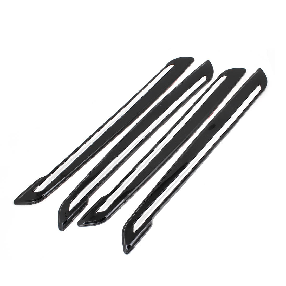 4 x Black Silver Tone Plastic Bumper Guard Protector Sticker for Car