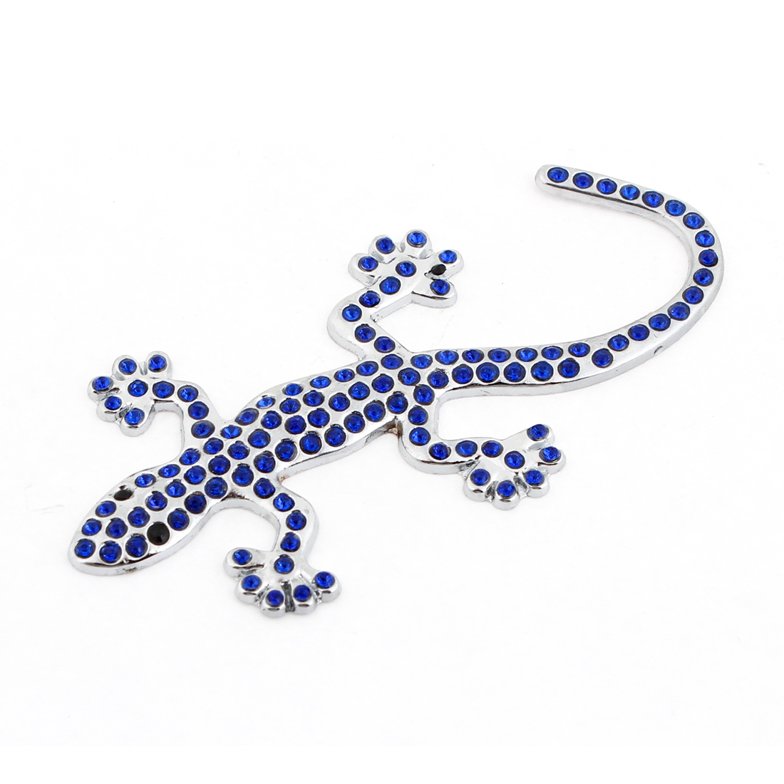 Auto Royal Blue Plastic Rhinestoen Adorn 3D Gecko Badge Sticker Silver Tone