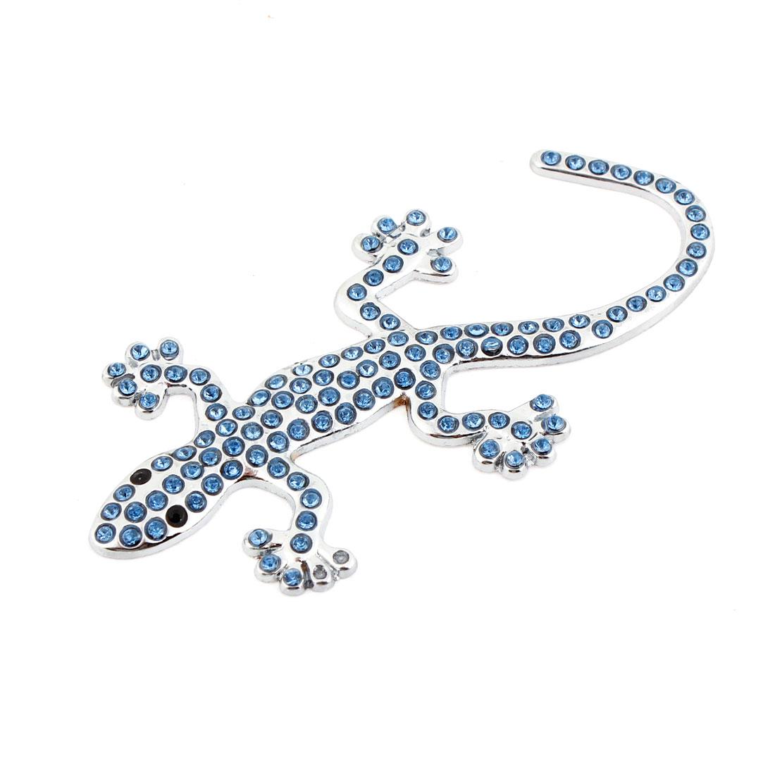Auto Blue Plastic Rhinestoen Adorn 3D Gecko Badge Sticker Silver Tone