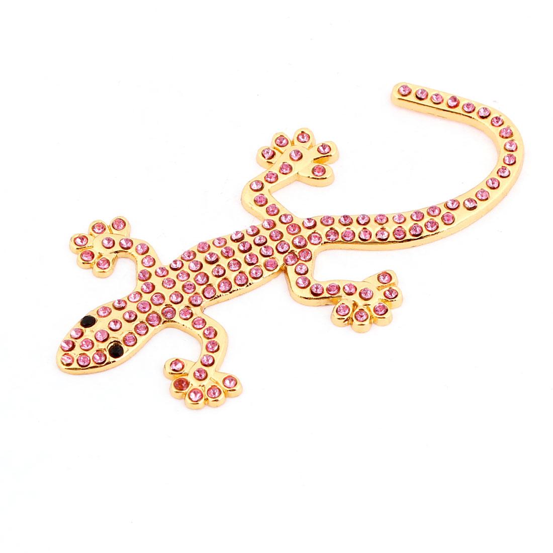 Car Pink Plastic Rhinestoen Detail 3D Gecko Sticker Decal Gold Tone