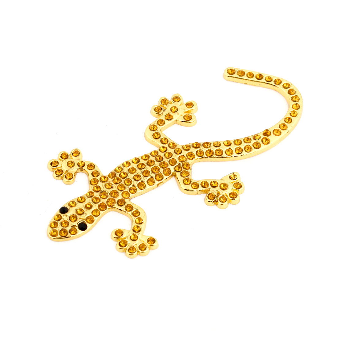 Faux Rhinestone Decor Metal Gecko Shape Decal Gold Tone Yellow for Auto